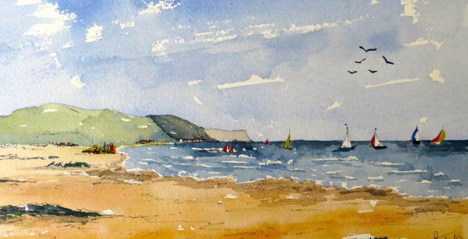 Sailing off the Antrim coast. 29 by 15 cms. £120