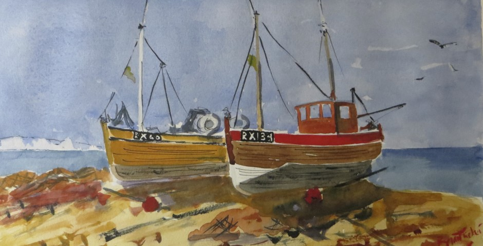 Fishing boats at Hastings. 30 by 16 cms. £100