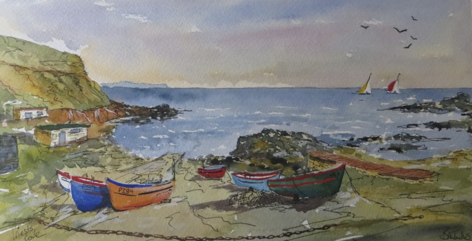 Priest's Cove, Cornwall. 29 by 15 cms. £120
