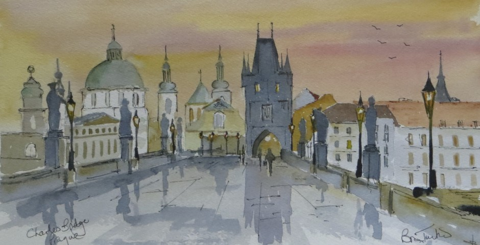The Charles Bridge in Prague. 28 by 16 cms. £130