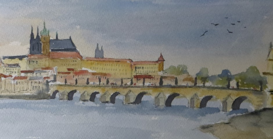 The Charles Bridge in Prague. 20 by 15 cms. £120