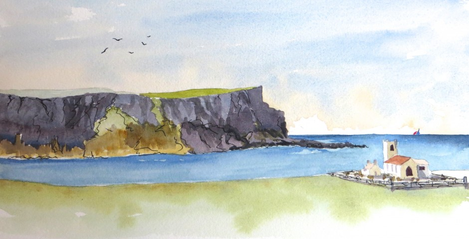 The Church on the Cliffs at Ballintoy. 30 by16. £140