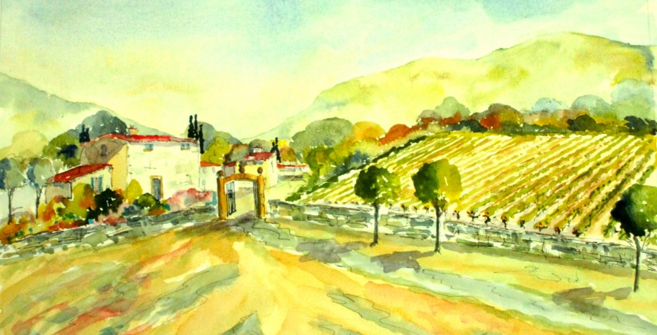 A Vineyard in Provence. 45 by 35 cms. £150