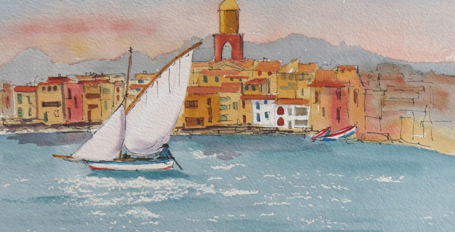Fishing boat at St Tropez. 30 by 22 cms. £120